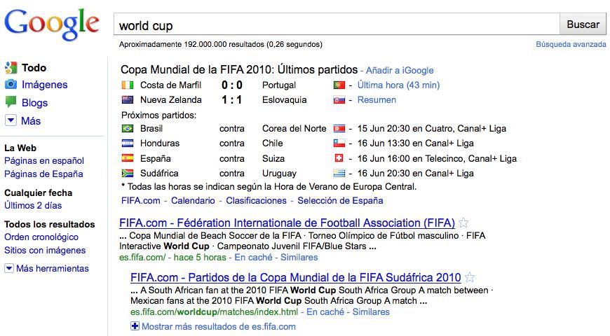 El Mundial 2010 a un sólo clic de distancia